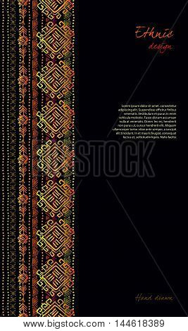 Darck vertical design with tribal ornament ethnic seamless stripe border in black background. Geometric colorful design. Vector illustration stock vector.