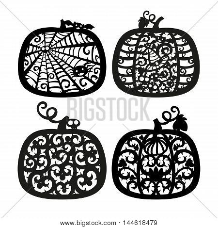 Vector halloween Jack o' Lantern pumpkin frame. Laser cutting template for greeting cards. Silhouette Design.