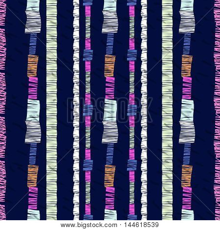 Abstract seamless pattern, stripe ornament. Ethnic vector background on dark blue.