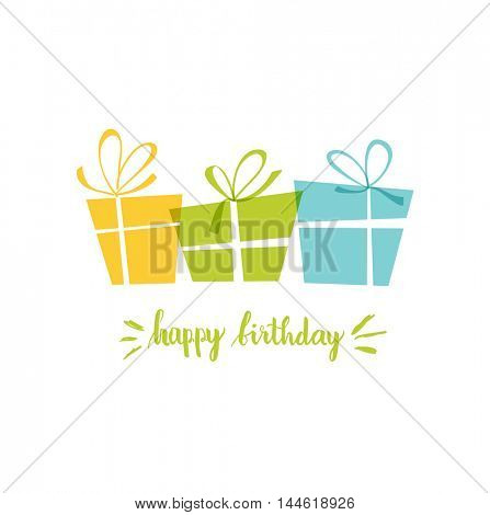 Birthday card, gift card, three present boxes with bows and text Happy Birthday.