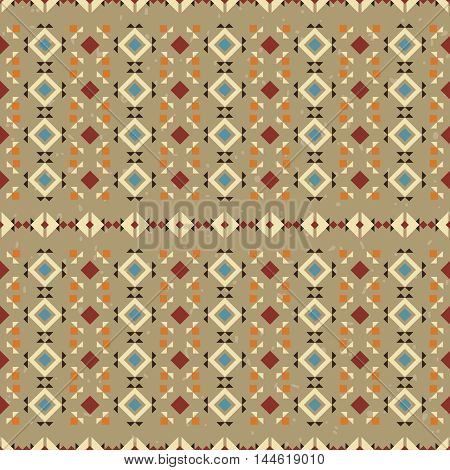 Ethnic seamless pattern. Aztec background made of abstract geometric elements on beige