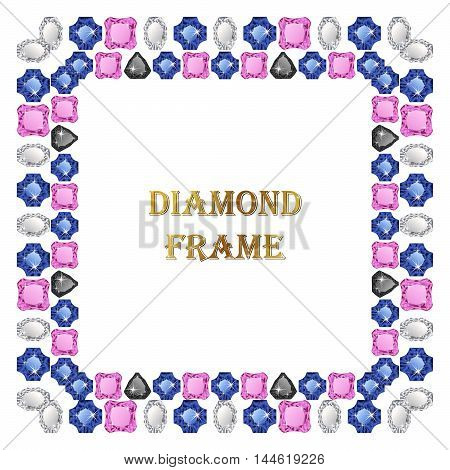 Diamond square frame. Vector jewelry background and place for your text.