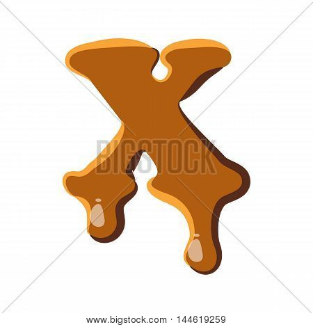Letter X from caramel icon isolated on white background. Alphabet symbol