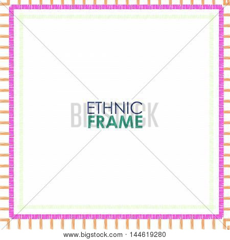 Abstract Ethnic square vector border. Striped pink frame on white background.