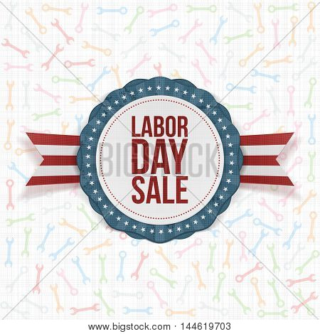 Labor Day Sale Background with wrenches Template. Vector Illustration