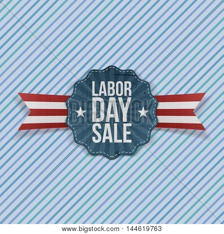 Paper Card with Labor Day Sale Text and stripes. Vector Illustration