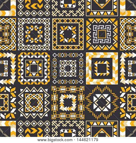 Vector tribal ethnic seamless pattern. Aztec abstract background. Mexican ornament texture. Native american traditional design. Folk geometric yellow and black squares print