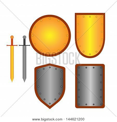 Set of signs shield sword. Combat icon isolated on white background. Silver gold images. Mark with volume effect. Symbol of a metal elements. Logo for military security.