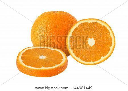 cut and whole orange fruits isolated on white background