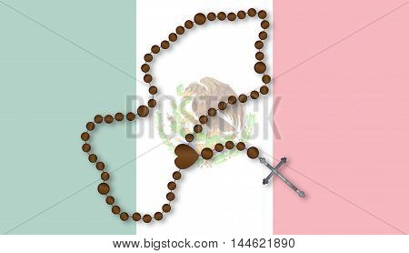 Flag of the South American country of Mexico with a Catholoc Rosary