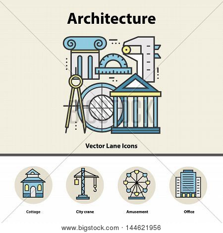 Modern color thin line concept of architecture and construction for school, university and training. Art design icons in flat style. Logo for trendy designs. Vector line background.