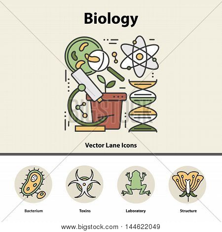 Modern color thin line concept of biology for school, university and training. Art design icons in flat style. Logo for trendy designs. Vector line background.