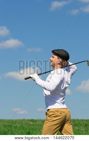 relaxation after a goal scored in golf