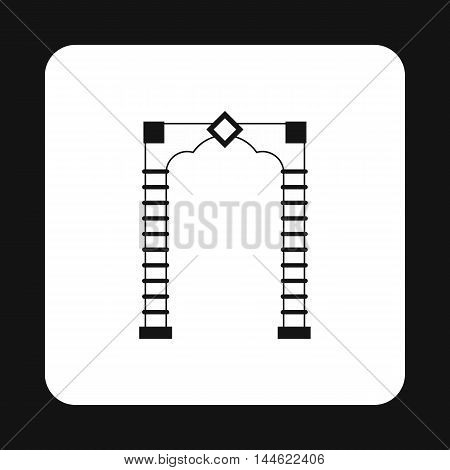 Wooden arch icon in simple style isolated on white background. Construction symbol