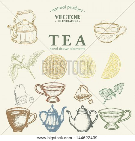 Tea Collection teapot cup tea bag lemon tea hand drawn set vector