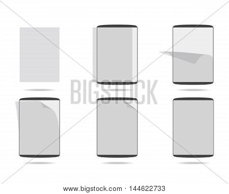 apply screen protector tablet computers vector illustration