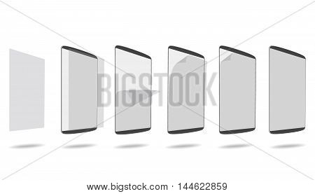 set apply screen protector tablet PC vector illustration