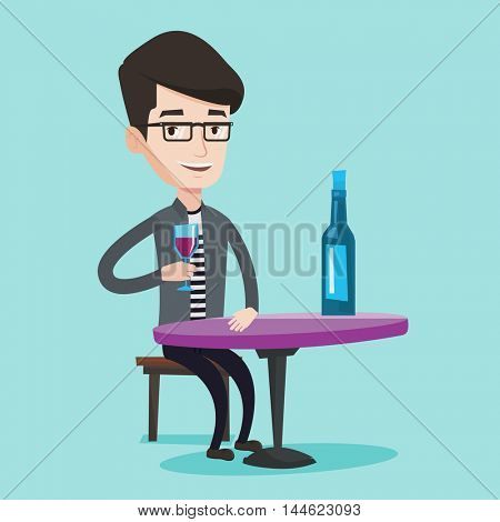 Young smiling man sitting at the table with glass and bottle of wine. Happy man drinking wine at restaurant. Cheerful man enjoying a drink at wine bar. Vector flat design illustration. Square layout.