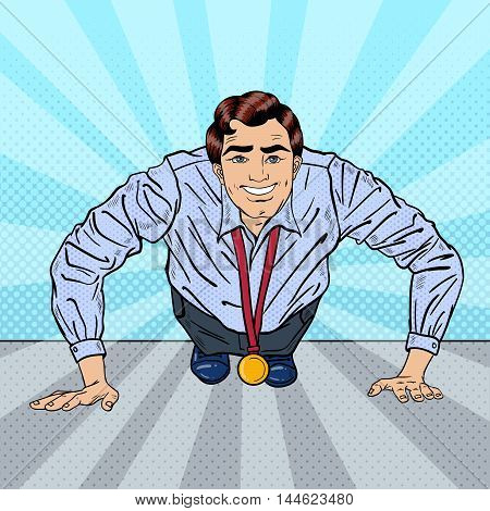 Successful Pop Art Business Man with Medal Doing Push-ups. Vector illustration