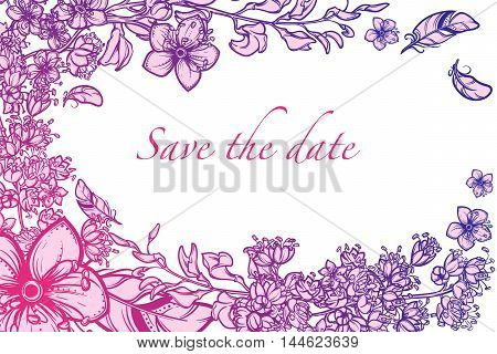 Tropical Floral Frame. Greeting card, spa flyer or wedding invitation design template. Horisontal orientation. EPS10 vector illustration.