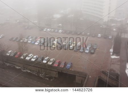 Car Parking In The Fog, Top View