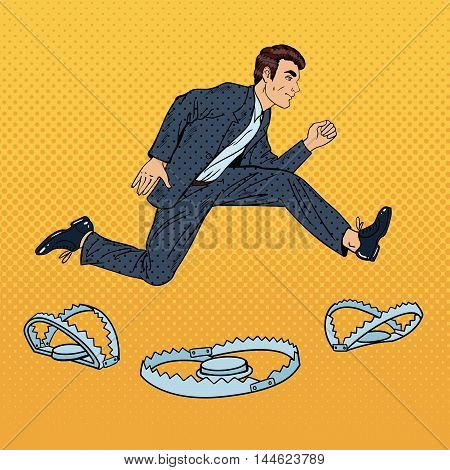 Successful Businessman Jumping Over the Trap. Pop Art Vector illustration