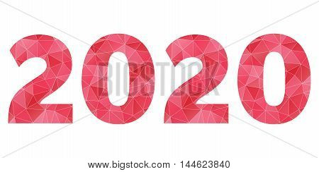 Happy New Year 2020 vector red polygon logo isolated
