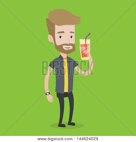 A hipster man with the beard holding cocktail glass with drinking straw. Joyful man drinking a cocktail. Young man celebrating with a cocktail. Vector flat design illustration. Square layout.