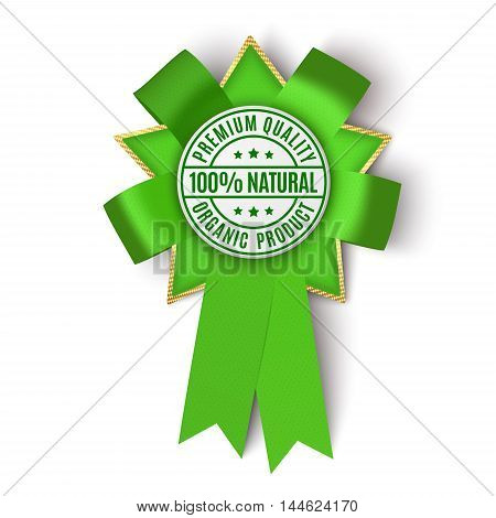 Realistic green fabric award ribbon isolated on white background. Vector illustration.