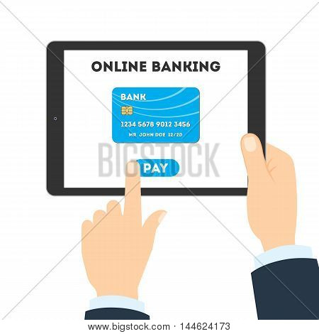 Online banking concept. Checking balance, sending money and making payments. Tracking savings.