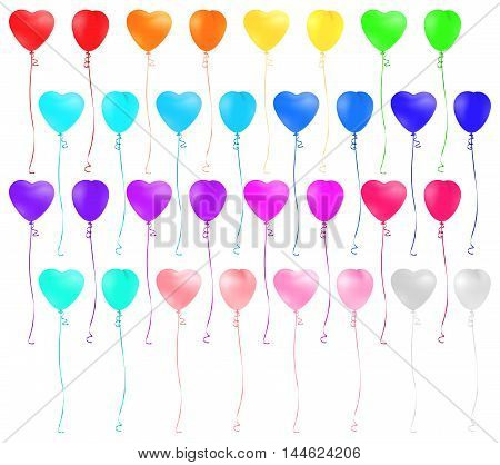 Set of heart shaped colorful balloons isolated on white background. Vector illustration.