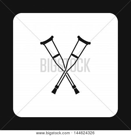 Crutches icon in simple style isolated on white background. Treatment and equipment symbol