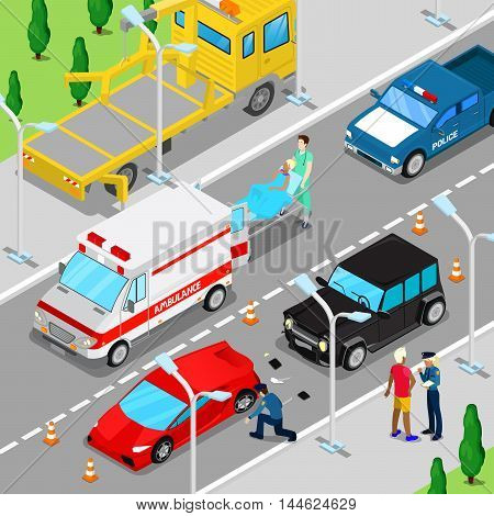Isometric City Car Accident with Ambulance, Tow Truck and Police Vehicle. Vector illustration