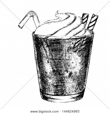 Isolated hand drawn milkshake on white background. Vintage cocktail with whipped cream and straw. Decoration for cafe or restaurant.