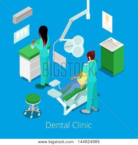 Isometric Dentist Cabinet Interior with Patient and Doctor. Vector illustration