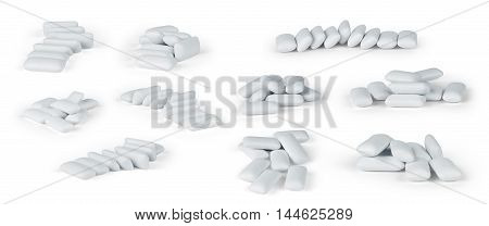 Chewing or bubble gum isolated on white with clipping path set
