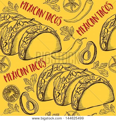 Mexican seamless taco pattern background. Food design icons hand-drawing elements. Graphic texture for restaurant template.