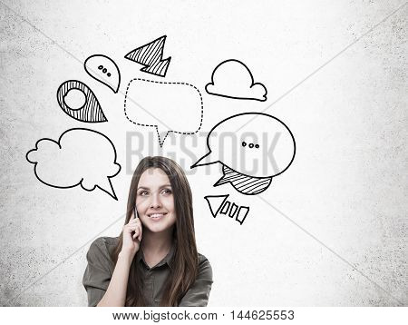 Girl In Brown Shirt And Speech Bubbles