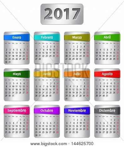 Calendar for 2017 year in Spanish with colorful stickers. Vector