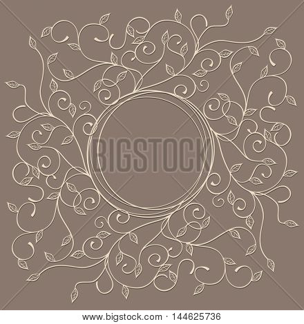 Vector pattern with swirls and leaves with a round frame on brown backgrounde