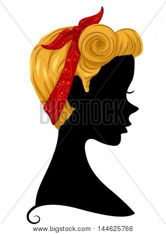 Illustration Featuring the Profile of a Woman Wearing a Bandana