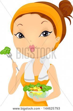 Illustration of a Woman Eating Salad After Working Out