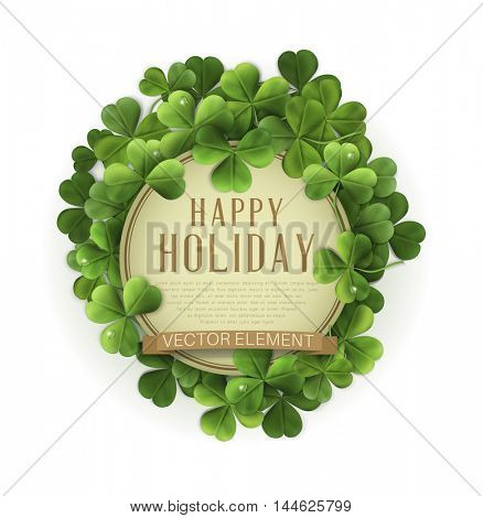 vector vintage circle with space for text in a frame of shamrocks. on a white background (element for design) for the holiday st.Patrick