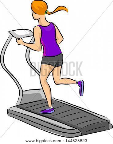 Illustration of a Woman Running on a Treadmill