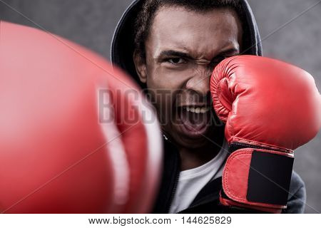 African American Man With Boxing Gloves