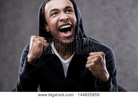 Excited African American Man Portrait