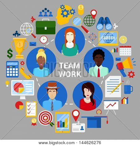 Team Work Creative Planning Strategy Corporate Business. Vector illustration