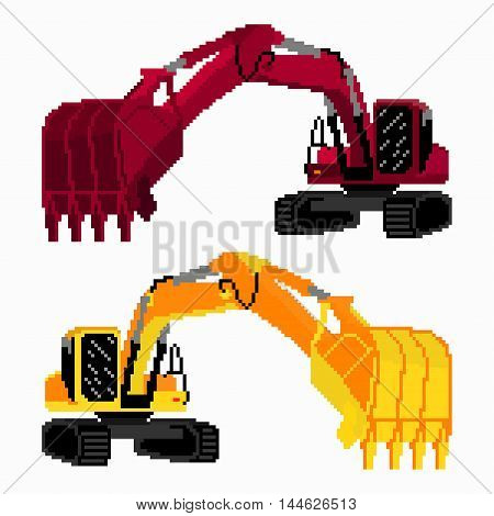 pixel art colored excavators vector illustration abstract high quality