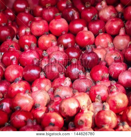 Traditional asian market stall full of exotic fresh rose mountain apples