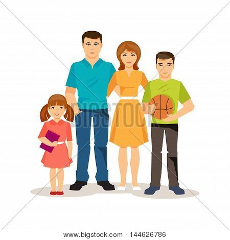 Friendly family. Mom and dad teenage son preschool daughter